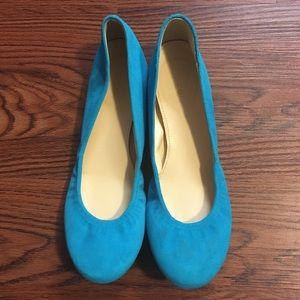J. Crew Blue Suede Ballet Flats